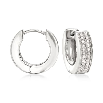 .25 ct. t.w. Diamond Double-Row Hoop Earrings in Sterling Silver