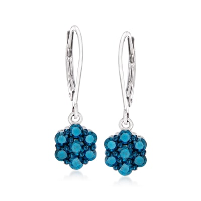 1.00 ct. t.w. Blue Diamond Flower Drop Earrings in Sterling Silver