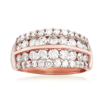 1.50 ct. t.w. Diamond Multi-Row Wedding Ring in 14kt Rose Gold