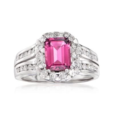 1.65 Carat Pink Tourmaline and .92 ct. t.w. Diamond Ring in 14kt White Gold