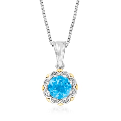 2.10 Carat Swiss Blue Topaz Pendant Necklace with Diamond Accents in Sterling Silver and 14kt Yellow Gold