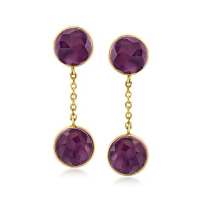 C. 1950 Vintage 14.00 ct. t.w. Amethyst Drop Earrings in 14kt Yellow Gold