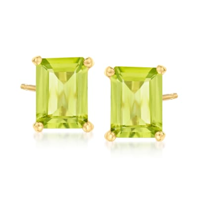 3.04 ct. t.w. Peridot Stud Earrings in 18kt Gold Over Sterling