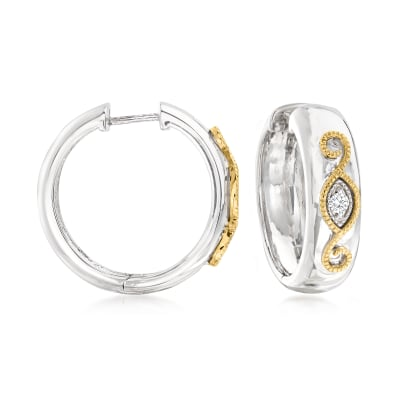 .10 ct. t.w. Diamond Scrollwork Hoop Earrings in Sterling Silver and 14kt Yellow Gold