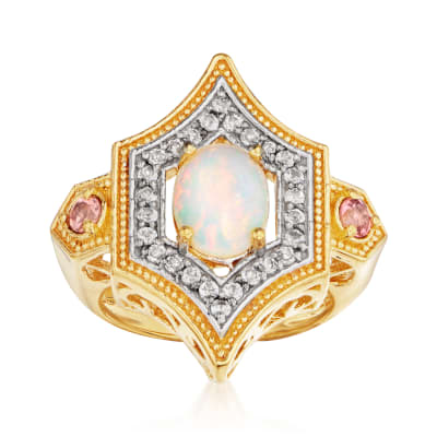 Opal, .50 ct. t.w. White Topaz and .20 ct. t.w. Pink Tourmaline Ring in 18kt Gold Over Sterling