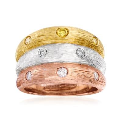 C. 1980 Vintage .36 ct. t.w. Yellow, White and Pink Diamond Three-Row Ring in 18kt Tri-Colored Gold