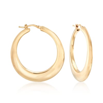 Italian 14kt Yellow Gold Graduated Hoop Earrings