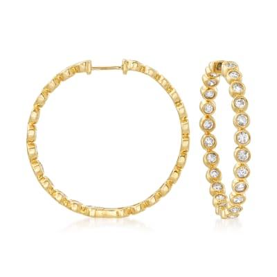 2.00 ct. t.w. Bezel-Set Diamond Inside-Outside Hoop Earrings in 14kt Yellow Gold