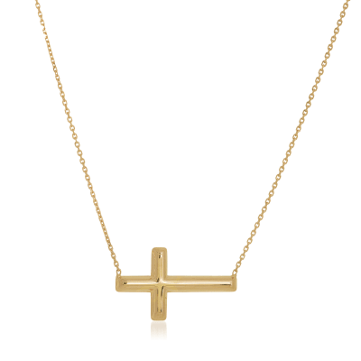 14kt Yellow Gold East-West Sideways Cross Necklace