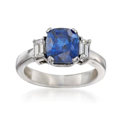 C. 1990 Vintage 3.44 Carat Sapphire and .50 ct. t.w. Diamond Ring in Platinum