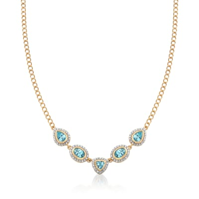 5.30 ct. t.w. Blue and White Zircon Necklace in 18kt Gold Over Sterling