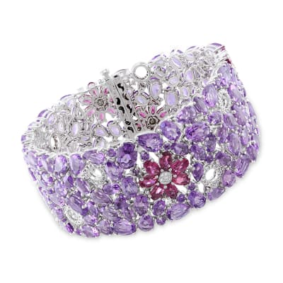 46.97 ct. t.w. Amethyst and 7.00 ct. t.w. Pink Tourmaline Bracelet with .73 ct. t.w. Diamonds in 14kt White Gold