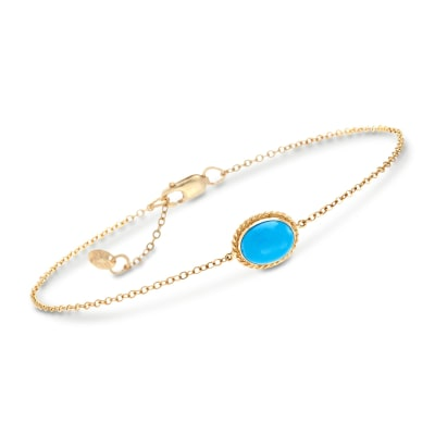 Oval Sleeping Beauty Turquoise Roped Frame Bracelet in 14kt Yellow Gold