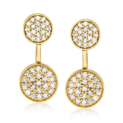 .65 ct. t.w. Diamond Circle Drop Earrings in 14kt Yellow Gold