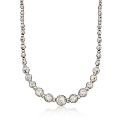 Italian Sterling Silver Diamond-Cut Bead Necklace
