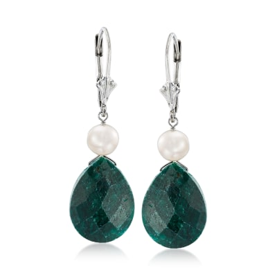 16.00 ct. t.w. Emerald and Cultured Pearl Drop Earrings in Sterling Silver