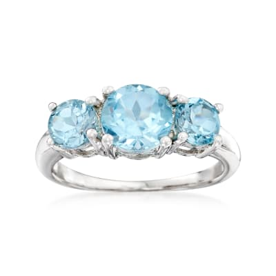 2.60 ct. t.w. Sky Blue Topaz Three-Stone Ring in Sterling Silver