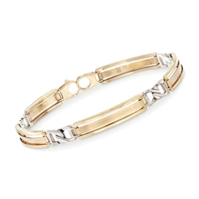 Men's 14kt Two-Tone Gold Bar Bracelet