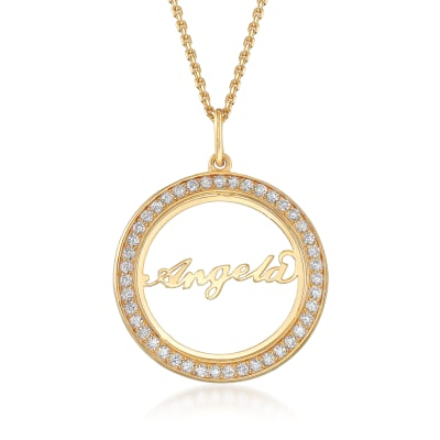 .40 ct. t.w. CZ Personalized Name Pendant Necklace in 18kt Yellow Gold Over Sterling Silver