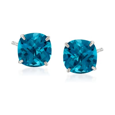 6.00 ct. t.w. London Blue Topaz Stud Earrings in 14kt White Gold