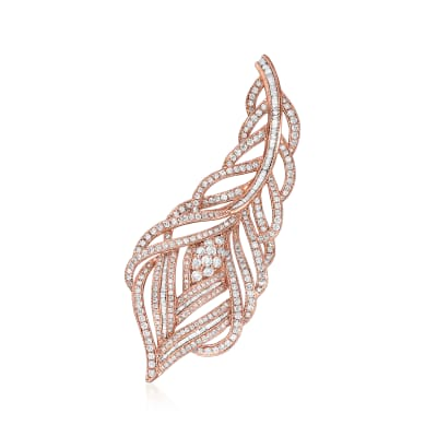 2.69 ct. t.w. Diamond Leaf Pin in 18kt Rose Gold