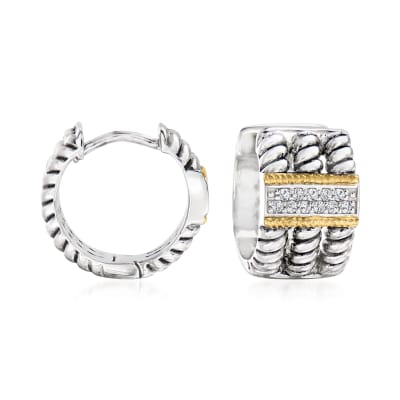 .10 ct. t.w. White Topaz Hoop Earrings in Sterling Silver with 14kt Yellow Gold
