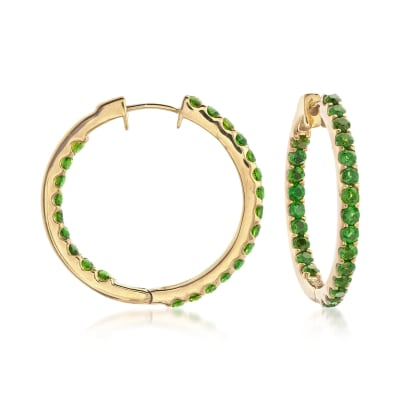 3.30 ct. Tw. Chrome Diopside Inside-Outside Hoop Earrings in 14kt Gold Over Sterling