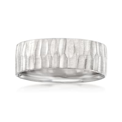 Men's 7mm 14kt White Gold Deep Bark Wedding Band