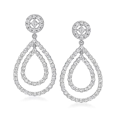 1.52 ct. t.w. Diamond Double-Teardrop Earrings in 18kt White Gold