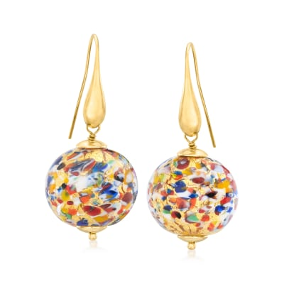 Italian Multicolored Murano Glass Earrings with 18kt Gold Over Sterling