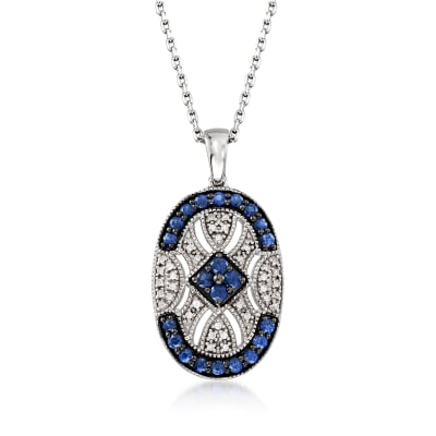 .70 ct. t.w. Sapphire and .10 ct. t.w. Diamond Pendant Necklace in Sterling Silver