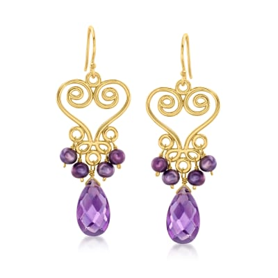 3.5-4.5mm Cultured Purple Pearl and 6.25 ct. t.w. Amethyst Drop Earrings in 18kt Gold Over Sterling