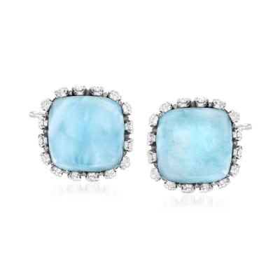 Larimar Stud Earrings in Sterling Silver