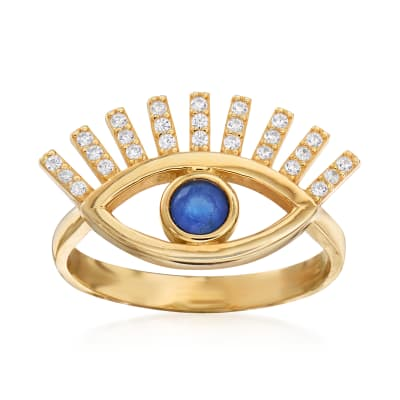 .23 ct. t.w. Simulated Sapphire and .19 ct. t.w. CZ Evil Eye Ring in 18kt Gold Over Sterling