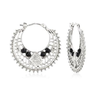 Italian Black Onyx Openwork Hoop Earrings in Sterling Silver