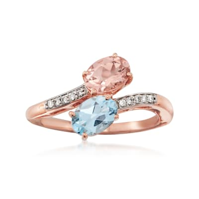 .70 Carat Morganite and .70 Carat Aquamarine Bypass Ring in 14kt Rose Gold