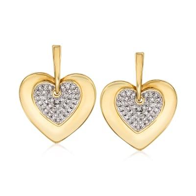 .25 ct. t.w. Diamond Heart Drop Earrings in 14kt Yellow Gold