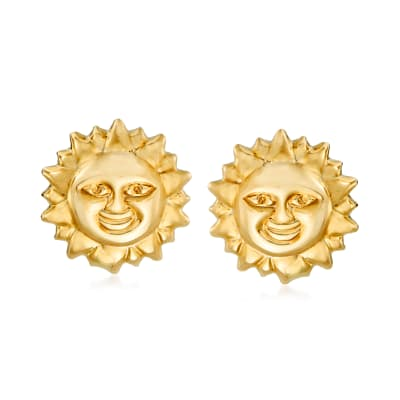 14kt Yellow Gold Sun Earrings