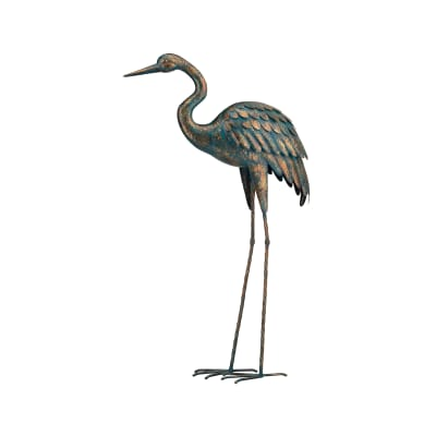 Regal Patina Metal Outdoor Crane Statue