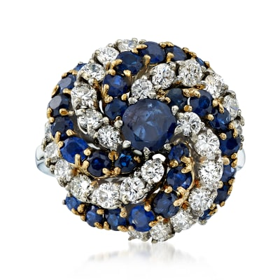 C. 1970 Vintage 3.25 ct. t.w. Sapphire and 1.70 ct. t.w. Diamond Swirl Ring in 14kt Two-Tone Gold