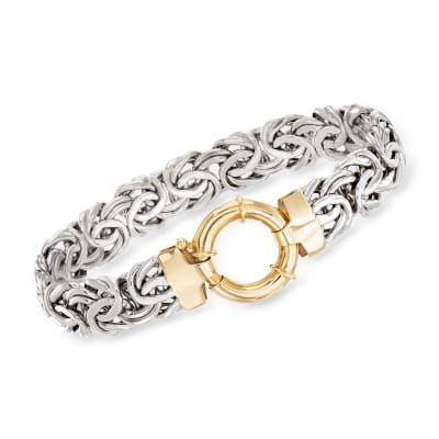 Sterling Silver Byzantine Bracelet with 14kt Yellow Gold