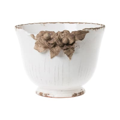 "Vietri ""Rustic Garden"" White Planter with Flowers from Italy"