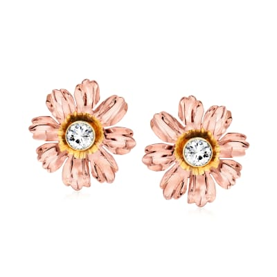 C. 1960 Vintage .77 ct. t.w. Diamond Flower Earrings in 14kt Two-Tone Gold