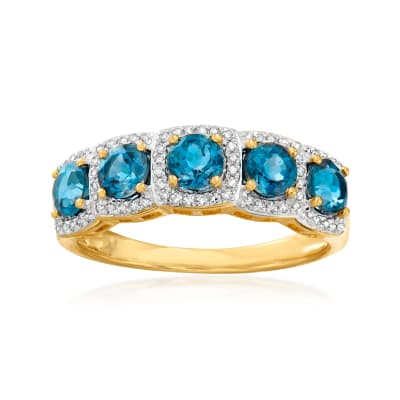 1.40 ct. t.w. London Blue Topaz and .15 ct. t.w. Diamond Ring in 18kt Gold Over Sterling