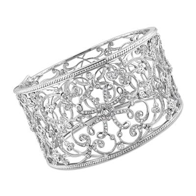 3.25 ct. t.w. Diamond Openwork Swirl Wide Bangle Bracelet