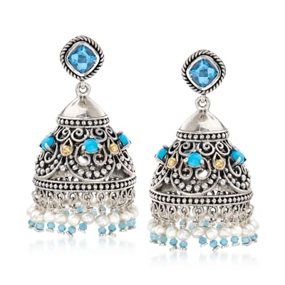 3-3.5mm Cultured Pearl and 3.70 ct. t.w. Multi-Gemstone Drop Earrings in Sterling Silver and 18kt Gold Over Sterling