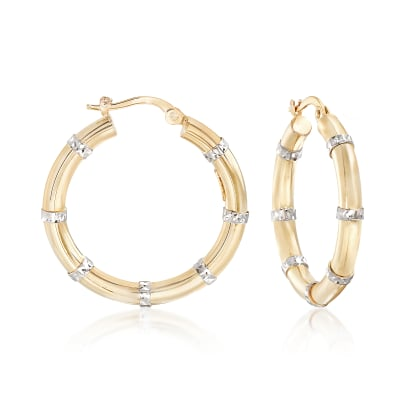 14kt Two-Tone Gold Diamond-Cut and Polished Station Hoop Earrings