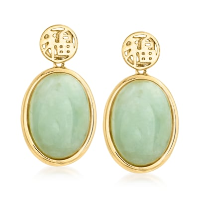"Jade ""Good Fortune"" Drop Earrings in 18kt Gold Over Sterling"