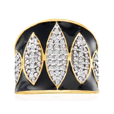 .25 ct. t.w. Diamond and Black Enamel Ring in 18kt Gold Over Sterling