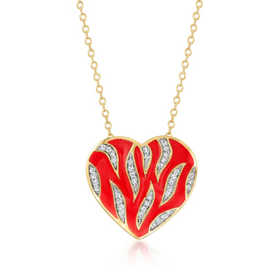 .19 ct. t.w. Diamond Heart Pendant Necklace with Red Enamel in 18kt Gold Over Sterling